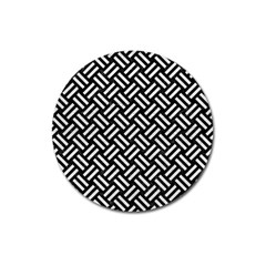 Woven2 Black Marble & White Leather (r) Magnet 3  (round)