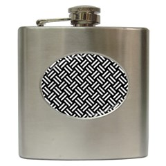 Woven2 Black Marble & White Leather (r) Hip Flask (6 Oz)