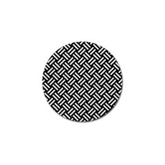 Woven2 Black Marble & White Leather (r) Golf Ball Marker