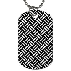 Woven2 Black Marble & White Leather (r) Dog Tag (two Sides)