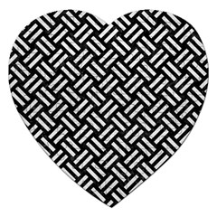 Woven2 Black Marble & White Leather (r) Jigsaw Puzzle (heart)