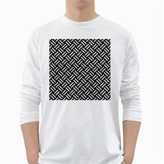 Woven2 Black Marble & White Leather (r) White Long Sleeve T Shirts