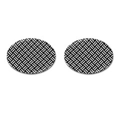 Woven2 Black Marble & White Leather (r) Cufflinks (oval)
