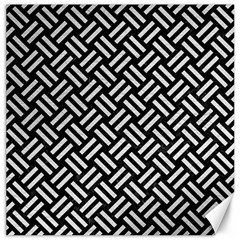 Woven2 Black Marble & White Leather (r) Canvas 16  X 16