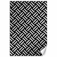 Woven2 Black Marble & White Leather (r) Canvas 20  X 30