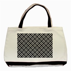 Woven2 Black Marble & White Leather (r) Basic Tote Bag (two Sides)