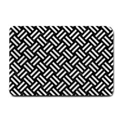 Woven2 Black Marble & White Leather (r) Small Doormat