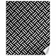 Woven2 Black Marble & White Leather (r) Canvas 11  X 14