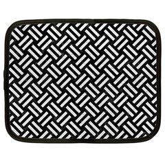 Woven2 Black Marble & White Leather (r) Netbook Case (large)
