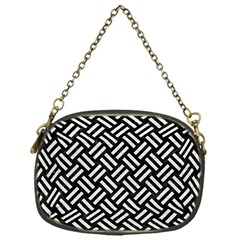 Woven2 Black Marble & White Leather (r) Chain Purses (one Side)