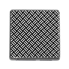 Woven2 Black Marble & White Leather (r) Memory Card Reader (square)