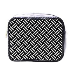 Woven2 Black Marble & White Leather (r) Mini Toiletries Bags