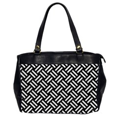 Woven2 Black Marble & White Leather (r) Office Handbags (2 Sides)