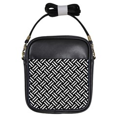 Woven2 Black Marble & White Leather (r) Girls Sling Bags