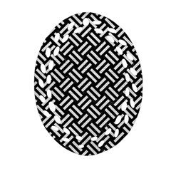 Woven2 Black Marble & White Leather (r) Oval Filigree Ornament (two Sides)