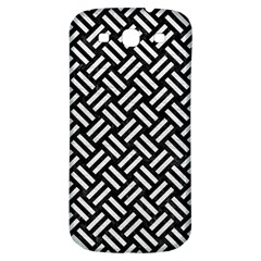 Woven2 Black Marble & White Leather (r) Samsung Galaxy S3 S Iii Classic Hardshell Back Case