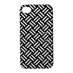 Woven2 Black Marble & White Leather (r) Apple Iphone 4/4s Hardshell Case With Stand