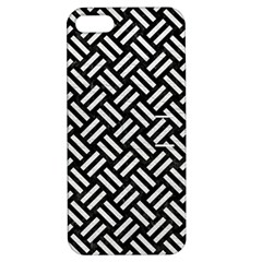 Woven2 Black Marble & White Leather (r) Apple Iphone 5 Hardshell Case With Stand