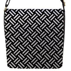 Woven2 Black Marble & White Leather (r) Flap Messenger Bag (s)