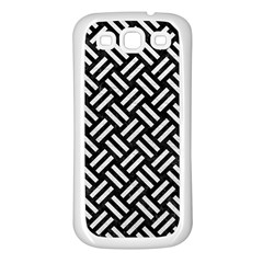 Woven2 Black Marble & White Leather (r) Samsung Galaxy S3 Back Case (white)
