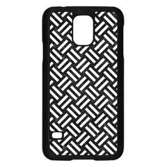 Woven2 Black Marble & White Leather (r) Samsung Galaxy S5 Case (black)