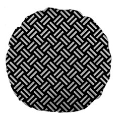Woven2 Black Marble & White Leather (r) Large 18  Premium Flano Round Cushions