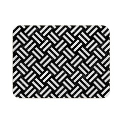 Woven2 Black Marble & White Leather (r) Double Sided Flano Blanket (mini)