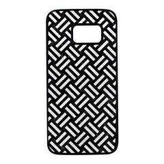 Woven2 Black Marble & White Leather (r) Samsung Galaxy S7 Black Seamless Case
