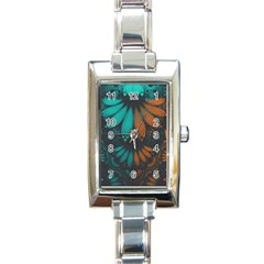 Beautiful Teal And Orange Paisley Fractal Feathers Rectangle Italian Charm Watch