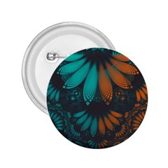 Beautiful Teal And Orange Paisley Fractal Feathers 2 25  Buttons
