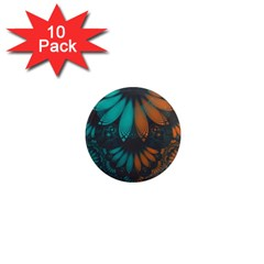 Beautiful Teal And Orange Paisley Fractal Feathers 1  Mini Magnet (10 Pack)