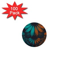 Beautiful Teal And Orange Paisley Fractal Feathers 1  Mini Buttons (100 Pack)