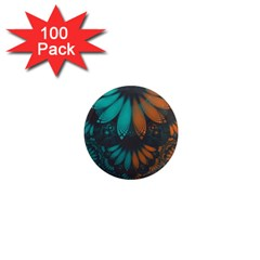 Beautiful Teal And Orange Paisley Fractal Feathers 1  Mini Magnets (100 Pack)