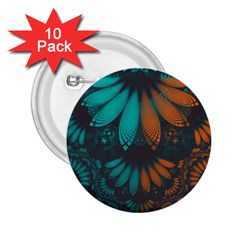 Beautiful Teal And Orange Paisley Fractal Feathers 2 25  Buttons (10 Pack)