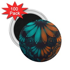 Beautiful Teal And Orange Paisley Fractal Feathers 2 25  Magnets (100 Pack)
