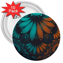 Beautiful Teal And Orange Paisley Fractal Feathers 3  Buttons (10 Pack)