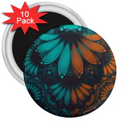 Beautiful Teal And Orange Paisley Fractal Feathers 3  Magnets (10 Pack)