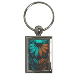 Beautiful Teal And Orange Paisley Fractal Feathers Key Chains (rectangle)