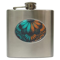 Beautiful Teal And Orange Paisley Fractal Feathers Hip Flask (6 Oz)
