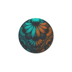 Beautiful Teal And Orange Paisley Fractal Feathers Golf Ball Marker