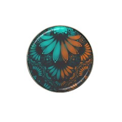 Beautiful Teal And Orange Paisley Fractal Feathers Hat Clip Ball Marker (10 Pack)