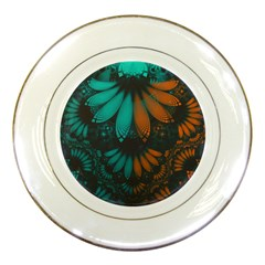 Beautiful Teal And Orange Paisley Fractal Feathers Porcelain Plates