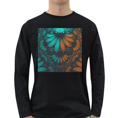 Beautiful Teal And Orange Paisley Fractal Feathers Long Sleeve Dark T Shirts