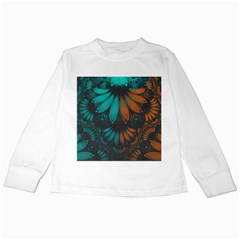 Beautiful Teal And Orange Paisley Fractal Feathers Kids Long Sleeve T Shirts