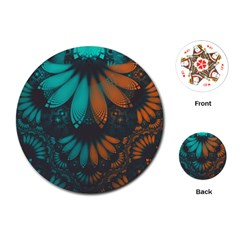 Beautiful Teal And Orange Paisley Fractal Feathers Playing Cards (round)