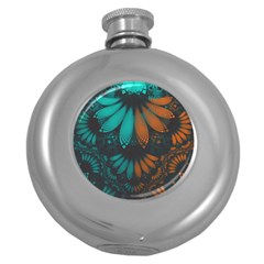 Beautiful Teal And Orange Paisley Fractal Feathers Round Hip Flask (5 Oz)