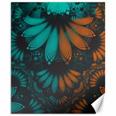 Beautiful Teal And Orange Paisley Fractal Feathers Canvas 8  X 10