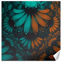 Beautiful Teal And Orange Paisley Fractal Feathers Canvas 16  X 16