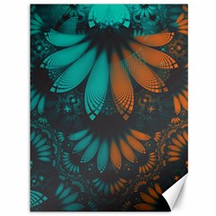 Beautiful Teal And Orange Paisley Fractal Feathers Canvas 36  X 48