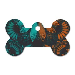Beautiful Teal And Orange Paisley Fractal Feathers Dog Tag Bone (one Side)